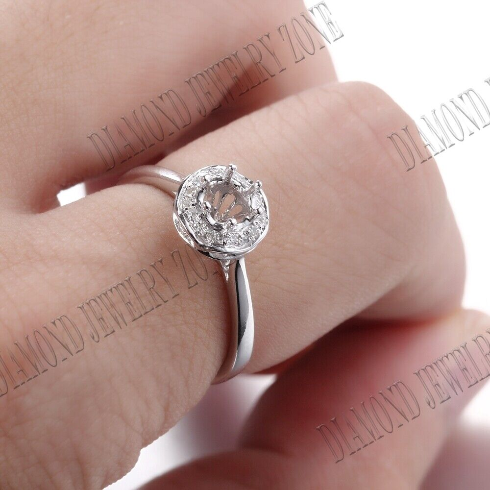 Silver 4.5mm Round Real Halo Diamonds Semi Mount Wedding Ring ...