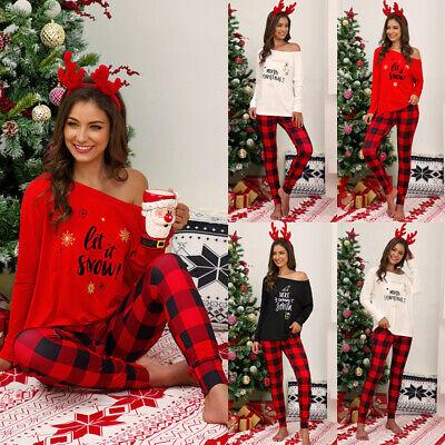 Women Christmas Print Sexy Off Shoulder Tops Splicing Long Sleeve Pajamas -