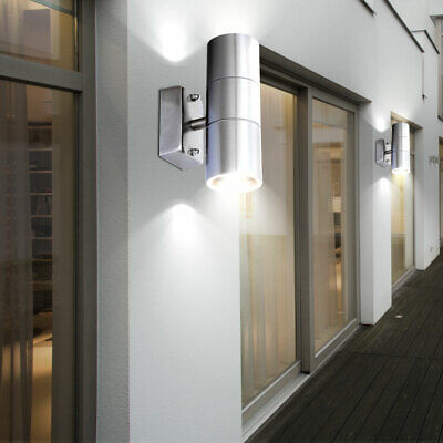 Set of 2 LED outdoor lights facades stainless steel wall spotlight UP DOWN lamps