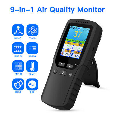 9 in 1 Air Quality Monitor Tester for Formaldehyde PM2.5 AQI TVOC PM10 Analyzer