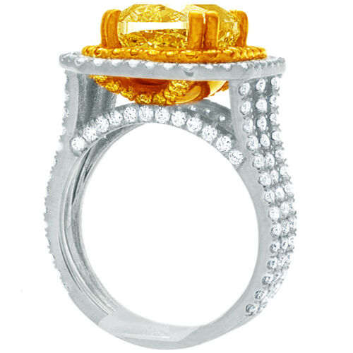 Diamond Engagement Ring GIA Certified 5.25 CT Fancy Yellow Cushion Cut Platinum 1