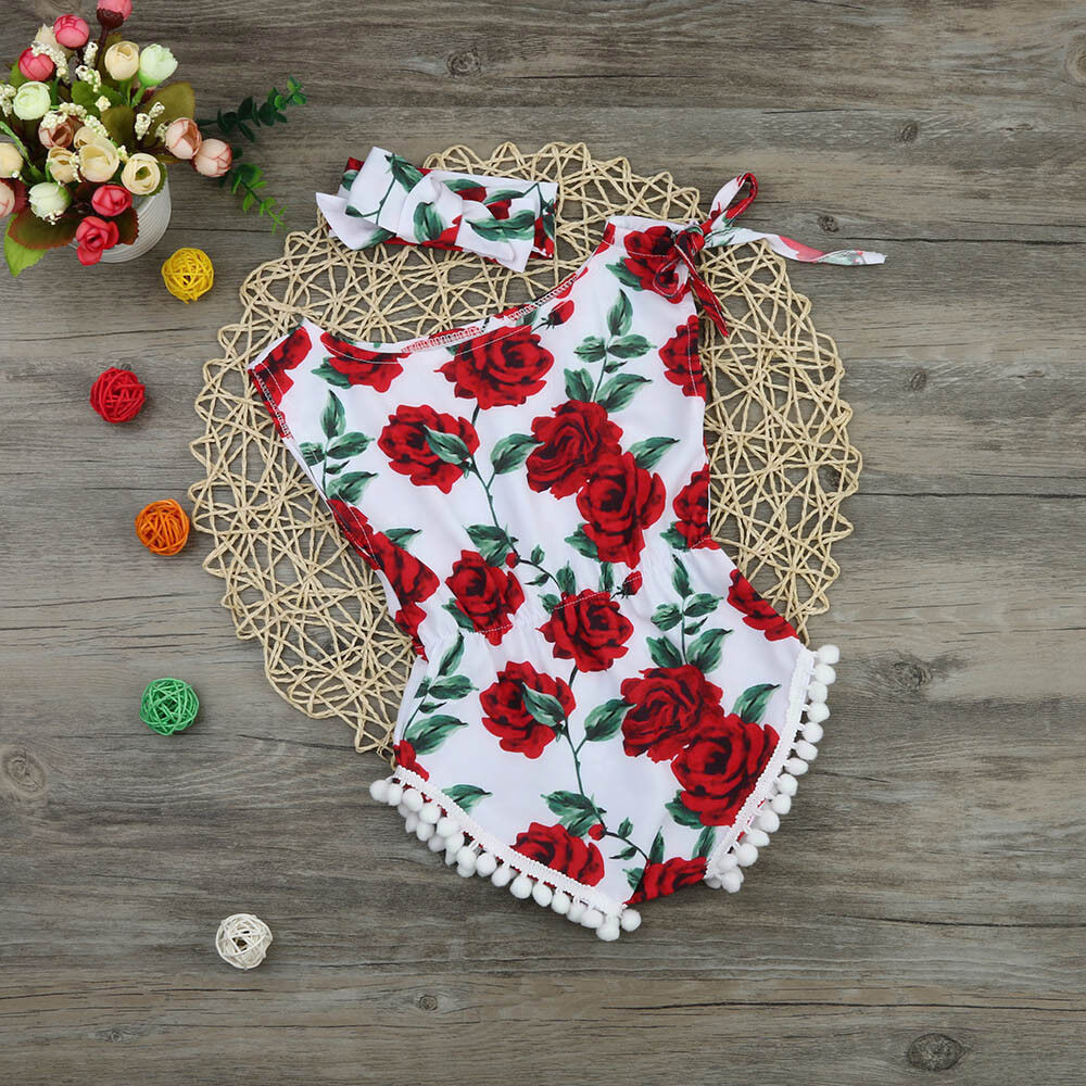 Newborn Kids Baby Girl Floral Romper Jumpsuit Sunsuit+Headband Outfits Clothes