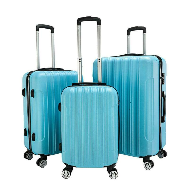 "3 Pcs 20"" 24"" 28""luggage Travel Set Bag Abs Trolley Hard Shell Suitcase Tsa Lock"