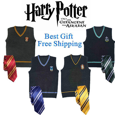 Harry Potter Slytherin Costume (Harry Potter Vest Tie Set Gryffindor Slytherin Wool Sweater Uniform Costume)