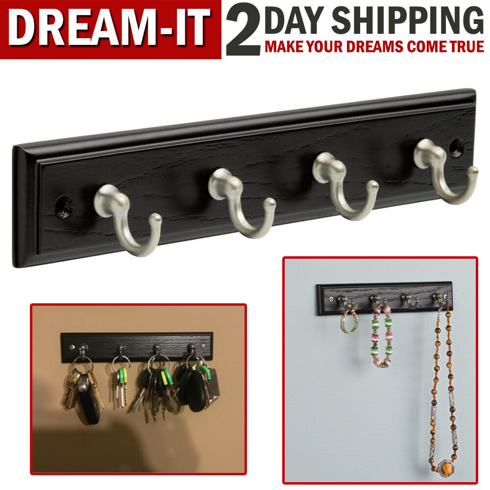 Wooden Key Rack Wall Mounted Hanger Holder with 4 Hooks Chai