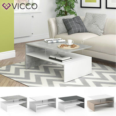 VICCO Table basse Table de salon Table d'appoint blanc béton anthracite chêne