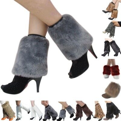 Womens Fluffy Soft Faux Fur Leg Warmers Winter Boots Toppers Costume Cosplay New - Fur Leg Warmers Costume