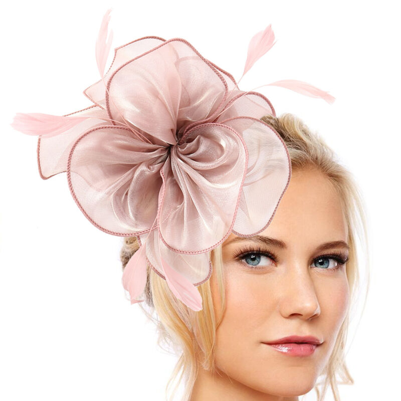 Ladies Flower Feather Headband Headpiece Fascinator Prom Royal Race