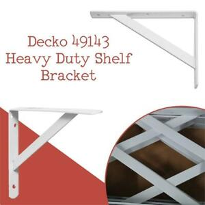 NEW Decko 49143 Heavy Duty Shelf Bracket, 10.5-Inch by 7.5-Inch, White, 10-Pack Condtion: New open box, 7.5 x 10.5