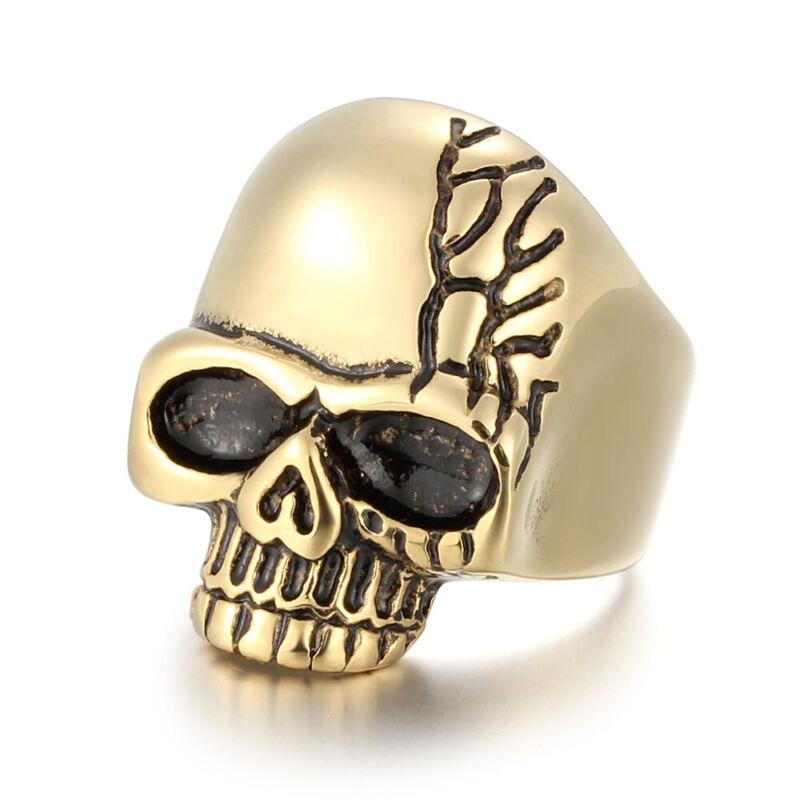 5 Pcs/Lot Stainless Steel Fashion Men Boy Skull Plated Gold Rings Biker Jewelry