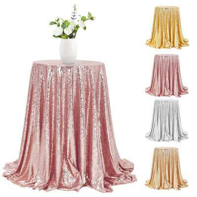 "48"" Round Glitter Sequin Tablecloth Table Cover Wedding Party Banquet Event Deco"