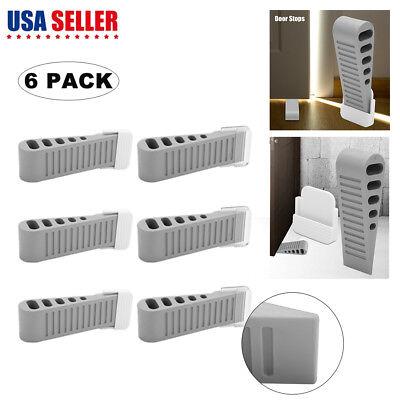 6pcs Heavy Duty Door Stopper Rubber Stop Floor Wedge Holder Doorstop Premium ()