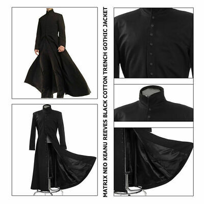 Matrix Neo New Men's Cotton Coat Keanu Reeves Black Trench Gothic Jacket;