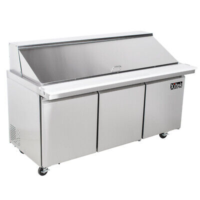 72 Mega Sandwich Prep Table Unit 3 Door Top Salad Prep 30 Pan Cooler 6 New