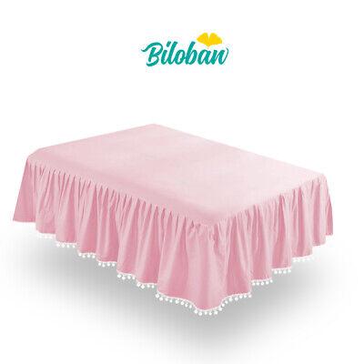 Girl Crib Skirt Baby Bedding Skirt Pleated Dust Ruffle Cribskirt Pink 52