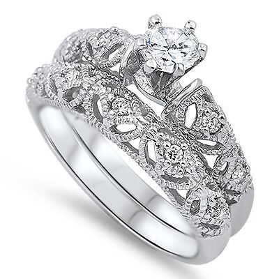 Sterling Silver CZ Vintage Antique Filigre Engagement Wedding Ring Set Size 5-10 (Vintage Cz Rings)