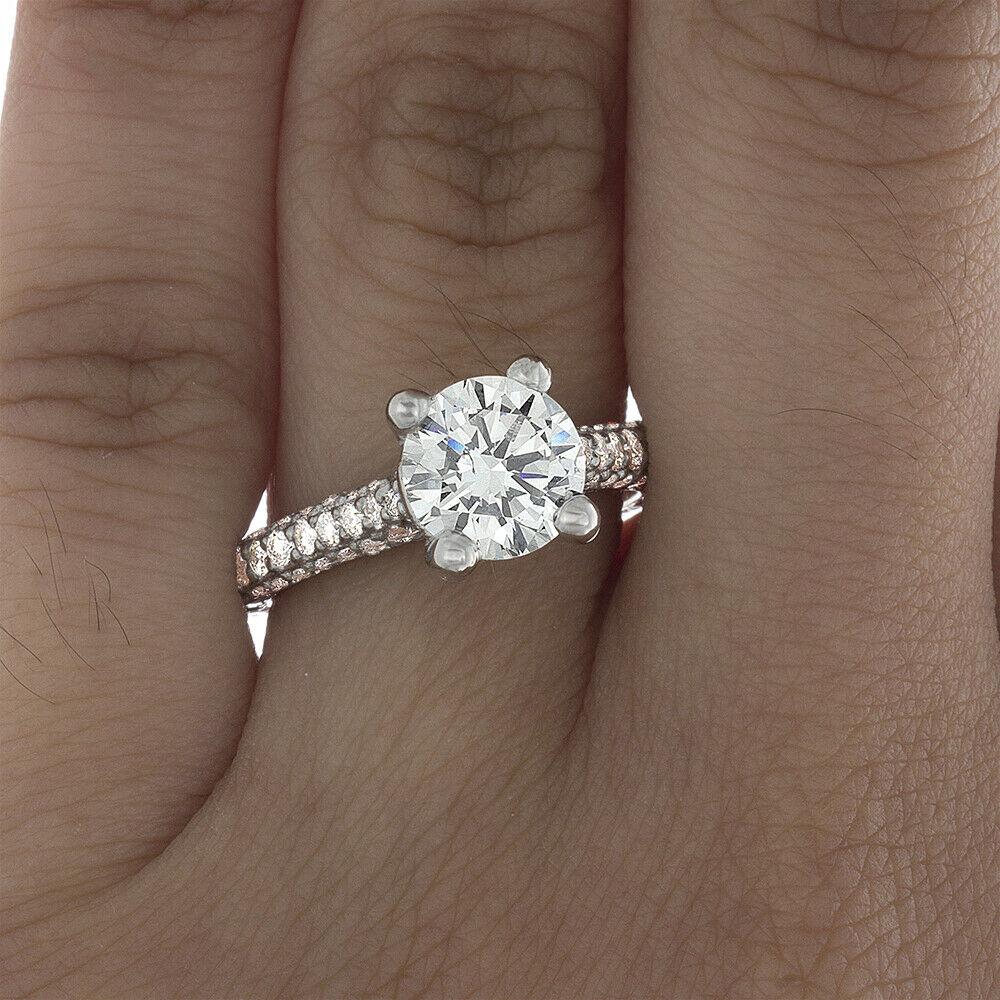 GIA Certified Round Cut Diamond Engagement Ring 18k White Gold 2.27 carat total