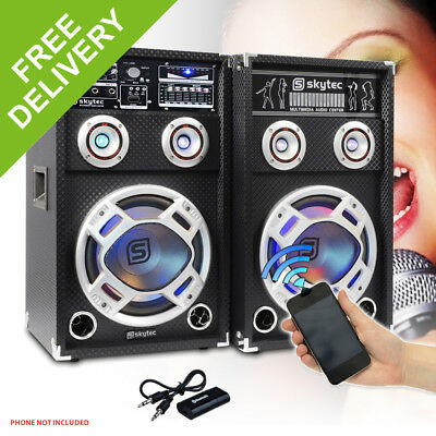"2x Skytec 8"" Active Party Speakers 600W + Bluetooth Music Receiver + Cables"