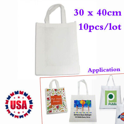 10pcs 11.8 X 15.7 Blank Sublimation Non-woven Shopping Bags Tote Bags