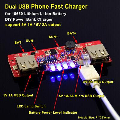 Lithium Li-ion 18650 Battery Usb 5v Charger Module Diy Phone Power Bank Solar