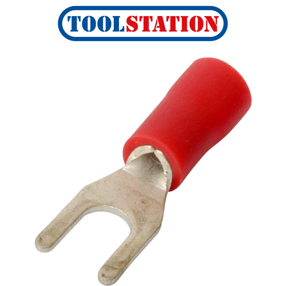 5 FORK 2 PRONG RED CONNECTORS 1.5 X 3.7MM INSULATED CRIMP ELECTRICAL SPADE