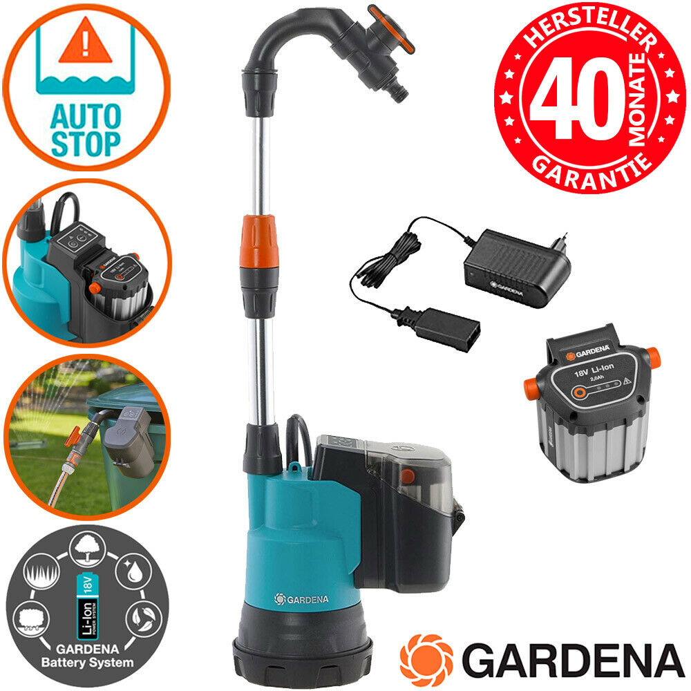 Gardena 2000/2 Li18 1749 Regenfasspumpe Gartenpumpe Wasserpumpe 18V 2.6Ah Akku