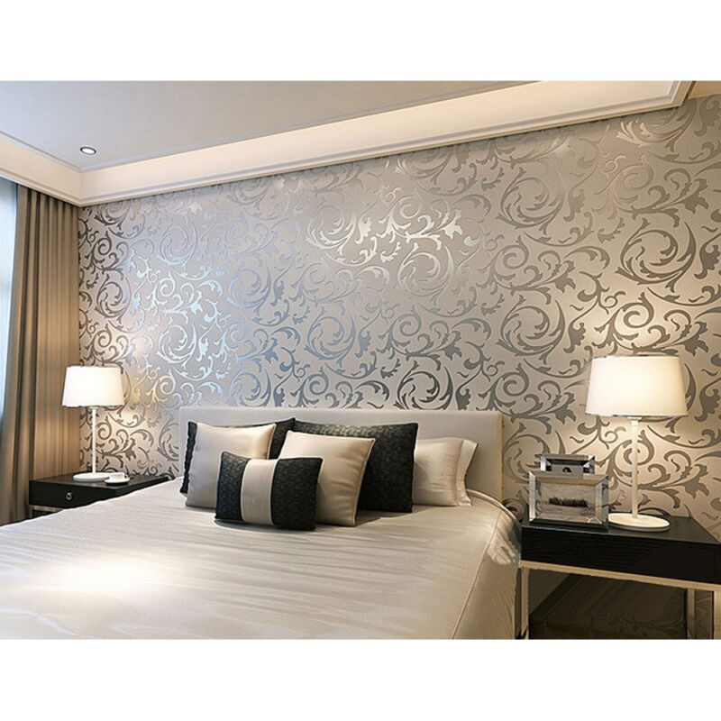 Home Decoration - New 3D Home Decor Metallic Textured Damask Embossed Wallpaper Soft Gray UK