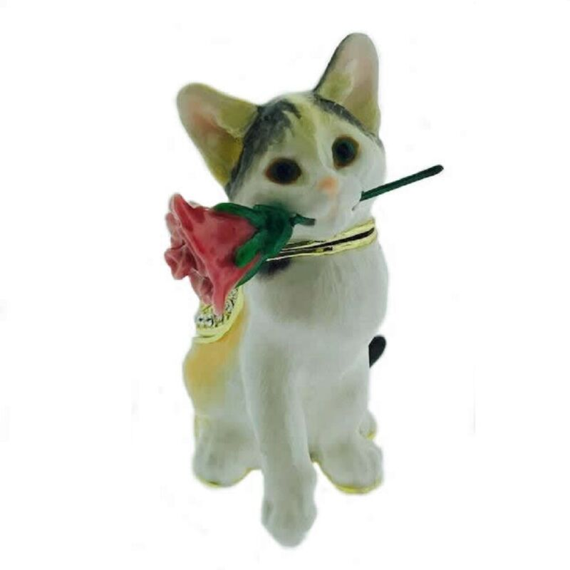 Cat with Rose Bejeweled Enamel Jewelry Trinket Keepsake Box Container New