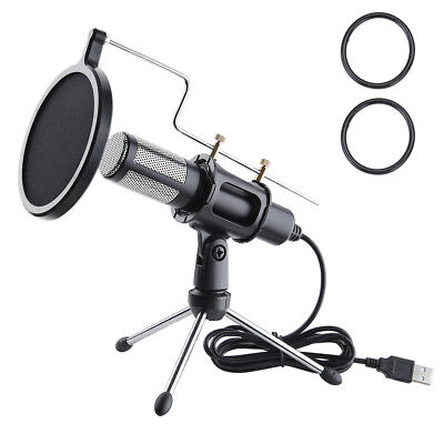 Usb Condenser Recording Microphones (Condenser USB Microphone w/ Tripod Stand for Game Chat Studio Recording)