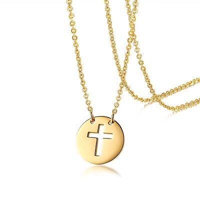 Cut Out Cross - Stainless Steel Gold Cut-Out Cross Round Pendant & Necklace