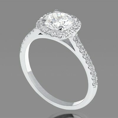 F/SI2 Round Cut Enhanced Diamond Engagement Ring 1.00 CT 14K White Gold