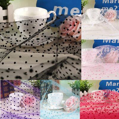 Polka Dot Heart Flocked Tulle Mesh Fabric Net Organza Lace Dress Wedding ZAIONE