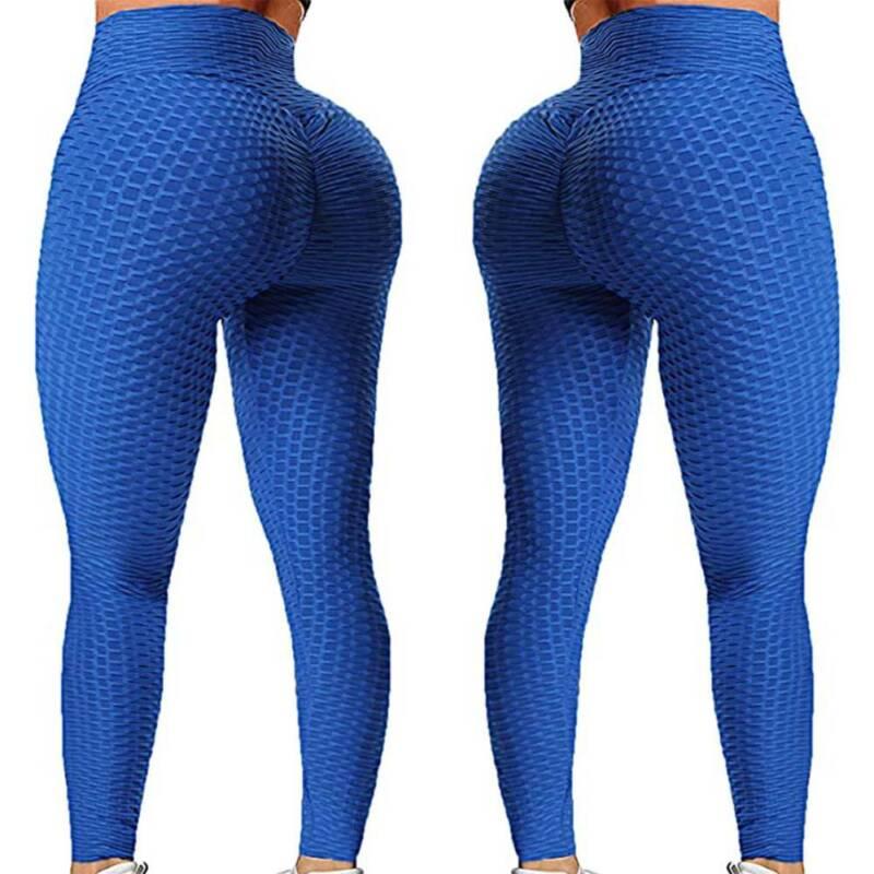Damen Fitness Yoga Hose Anti-Cellulite Ruched Leggings Laufhosen Gym Overalls 36