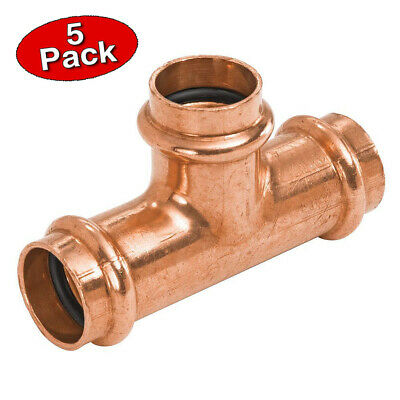 Press 34 Inch Copper Press Equal Tee Plumbing Fitting- 5 Pack