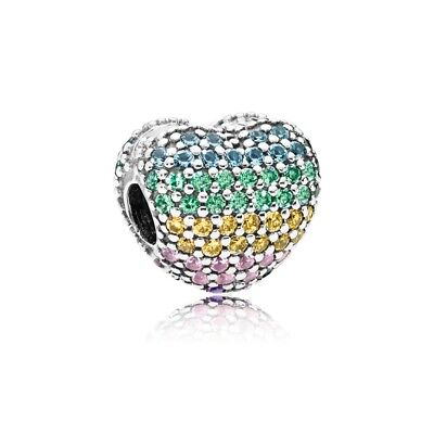 Authentic Pandora Charm Pave Open My Heart Multi Colored Clip Bead 797221Nrpmx