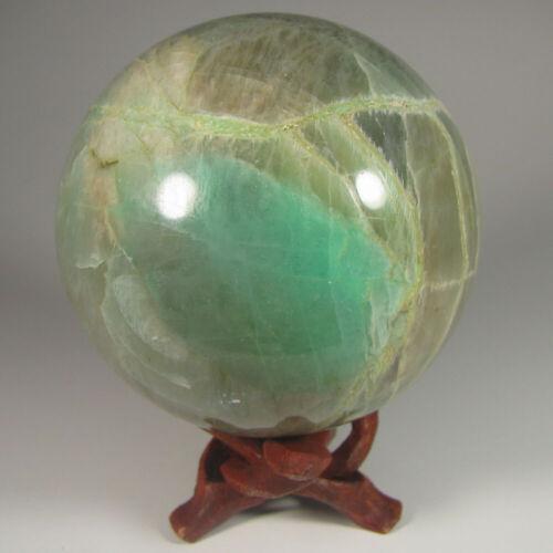 """2.9"""" GARNIERITE Nickel Gemstone Sphere w/ Stand - Madagascar - 75mm - 1.1 lbs."""