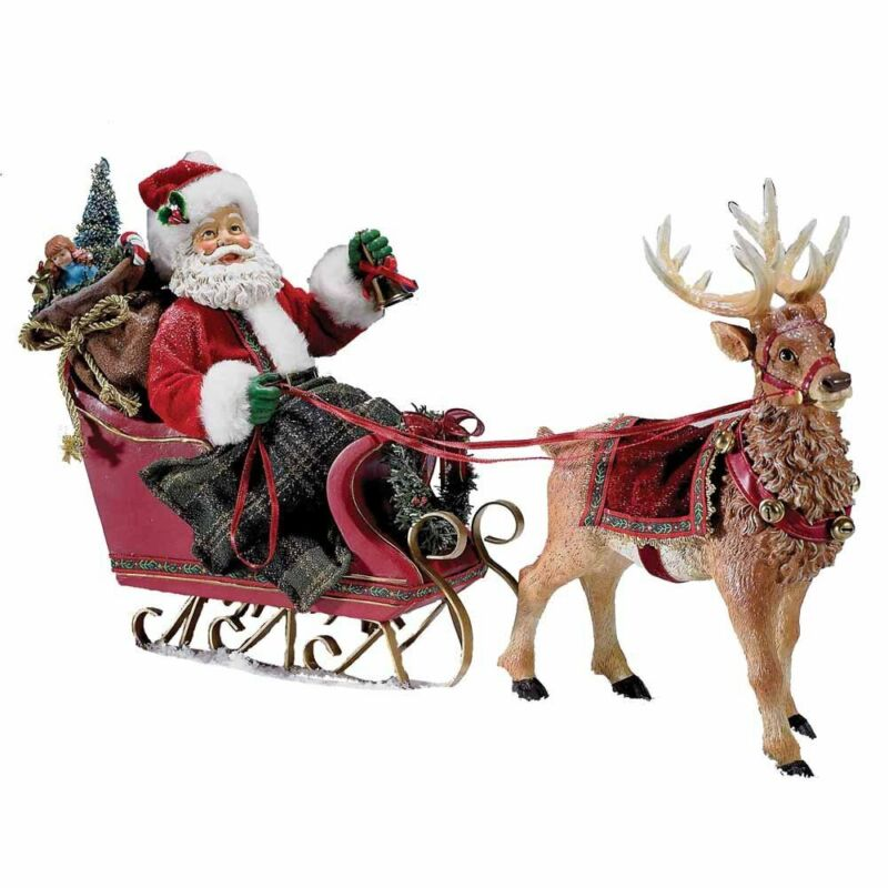 Santa Claus in Sleigh with Reindeer Fabriche Christmas Figurine 10 Inch C7339
