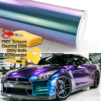 - Premium Gloss Metallic Chameleon Purple Teal Vinyl Film Wrap Air Bubble Free