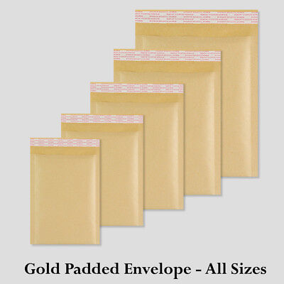 BUBBLE LINED ENVELOPES PADDED MAILERS MAILING BAGS *ALL SIZES* - GOLD Bubble Lined Mailers Cushioned Mailing