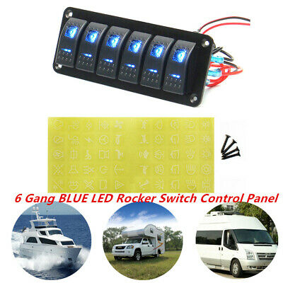 6 Gang Led Rocker Switch Control Panel Circuit Charger Car Boat Marine Rv Yacht
