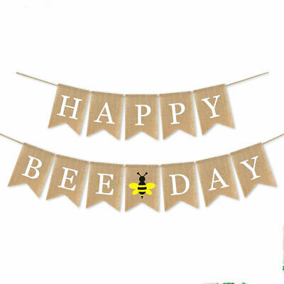 Jute Burlap Happy Bee Day Banner Boy Girl Bumble Bee Themed Birthday Party Decor