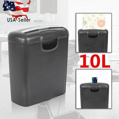 10l Paper Shredder Strip Cut Document Desktop Credit Card Shredding Office Usa
