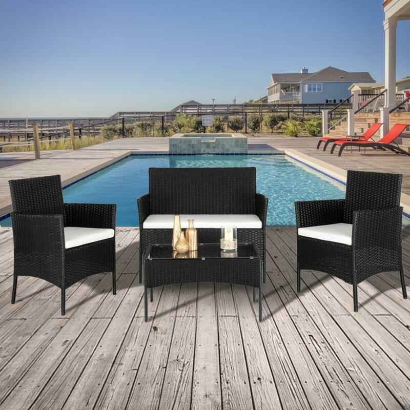 4 PCS Outdoor Patio PE Rattan Wicker Table Set Sofa Furniture w/ Cushion Black