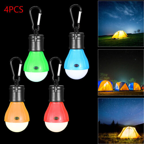 4x LED Camping Lights Tent Lamps with Carabiner Clips Portable Battery Operated