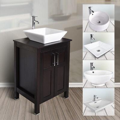 Ceramic Bathroom Vanity - 24'' Bathroom Vanity Floor Cabinet Single Vessel Ceramic Sink Basin Faucet Drain