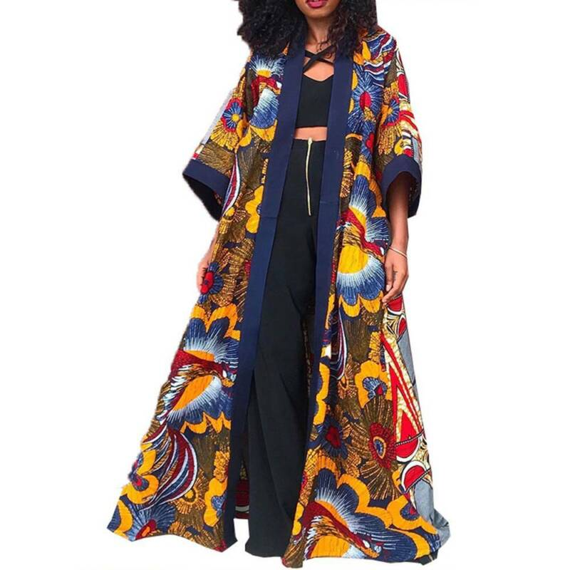 Womens African Maxi Cardigan Long Sleeve Loose Jackets Coat Kimono Long Outwear