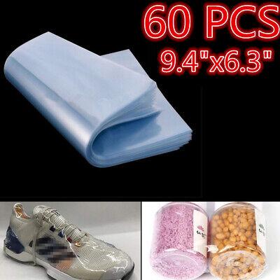 60pcs Heat Shrink Wrap Film Flat Bags Bag Shoes Protector Packing 9.4 X 6.3
