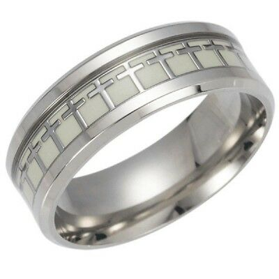 Glow in the Dark Silver Cross Ring Titanium Stainless steel Silver Ring Band - Glow Bands