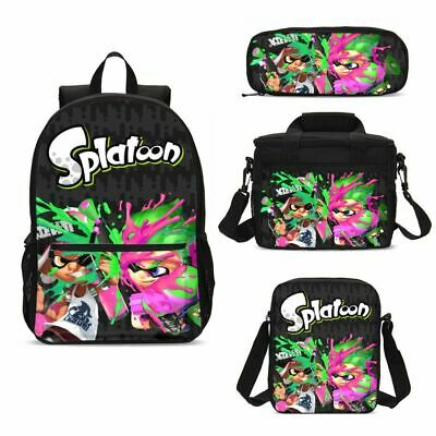 Value Lunch Bag - Splatoon Cartoon Kids Big School Backpack Insulated Lunch Bag Pen Case Value Lot