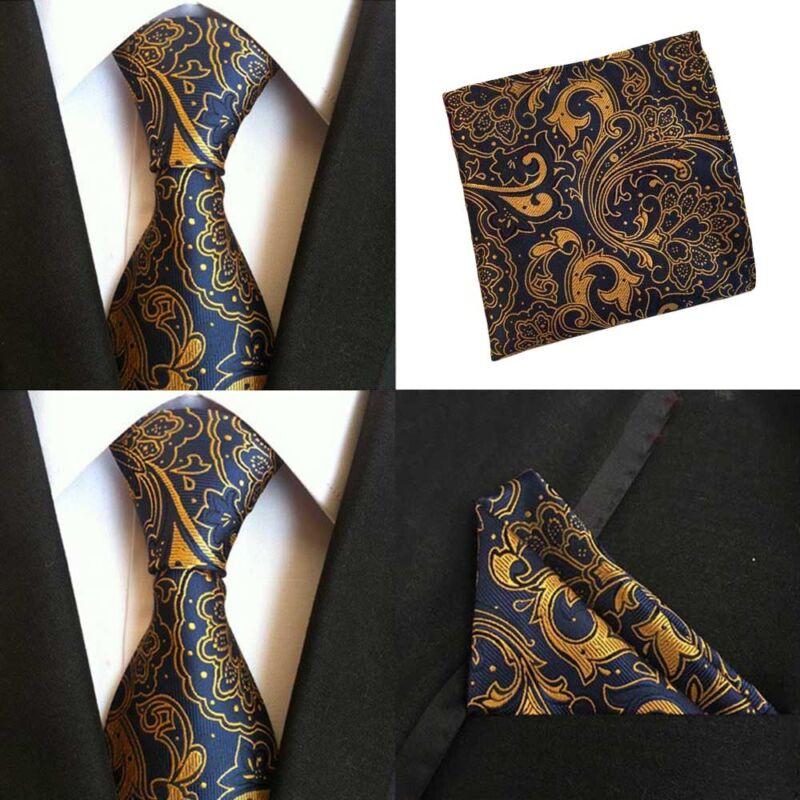 Men Blue Yellow Paisley Silk Ties Pocket Square Handkerchief Hanky Lot Hztie080